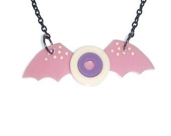 Eyeball Wings Necklace Pastel Goth Light Pink Winged Eyeball Creepy Cute Necklace Laser Cut Acrylic Kawaii