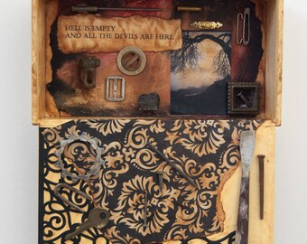 Assemblage Art - Found Object Art - Recycled Art - Cigar Box Art