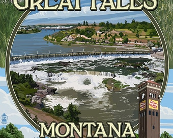 Great Falls, Montana - Montage (Art Prints available in multiple sizes)