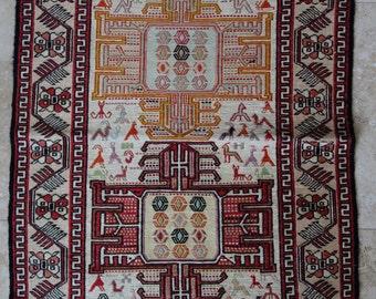 2 by 3 rug, Kilim Rug, Vintage Kilim, Turkish Kilim Rug, Small Kilim Rug, Silk Rug, Persian Rug, Small Vintage Rug, Kitchen Rug, Sumak Rug