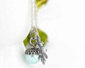 Blue Pearl Acorn Necklace - Antique Silver - Oak Leaf Charm - Sterling Silver Chain - Gift For Mom - Girlfriend Gift - Woodland Jewelry