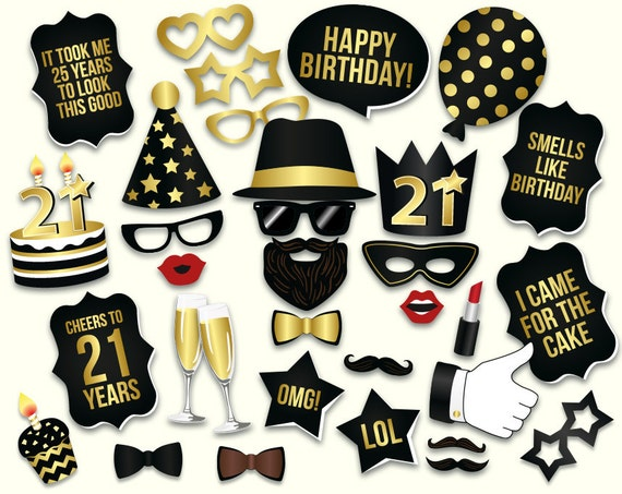 21st birthday photo booth props printable PDF Black and gold