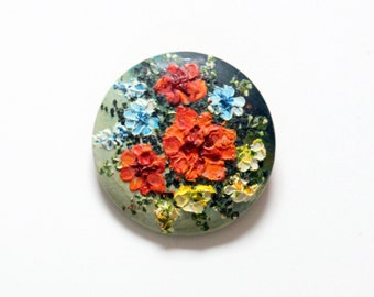 Vintage Floral Brooch, handpainted, flower, wood, around * free shipping *
