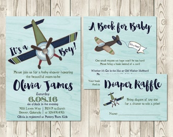 Airplane Baby Shower Invitation Set