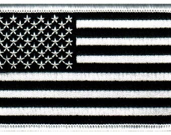 US Flag Patch Black White American Flag