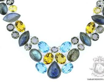 Shop at www.sarahdesignsjewelry.com LABRADORITE Blue Topaz Smokey Quartz Citrine 925 SOLID Sterling Silver Necklace