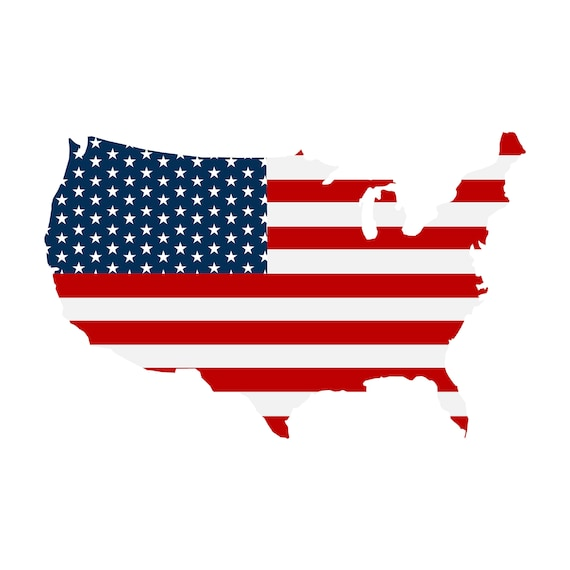 america patriotic map usa map clipart america map print rh etsy com Words United States of America Words United States of America
