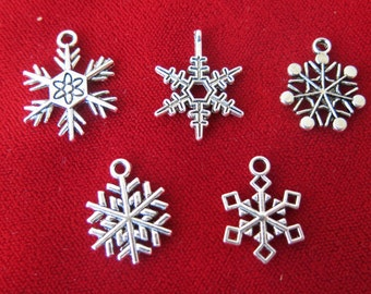 "BULK! 30pc ""snowflake"" charms in antique silver style (BC489B)"