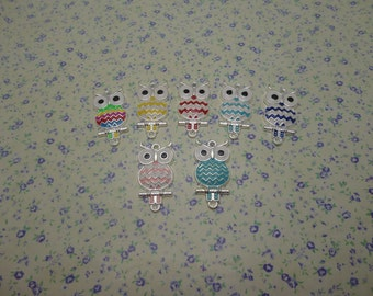 10 pcs of assorted color metal owl pendant charm , 35*16mm , MP689