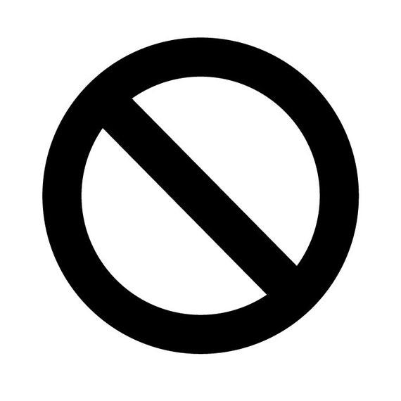 No No Circle Stop Cross Out Sign Logo Vinyl Decal Sticker