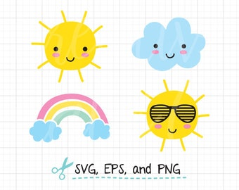 Smiling Sun SVG EPS File Cute Sun with Face svg Happy Sun Wearing Sunglasses svg Cartoon Summer Sun Cloud Rainbow svg Cut File eps Clipart