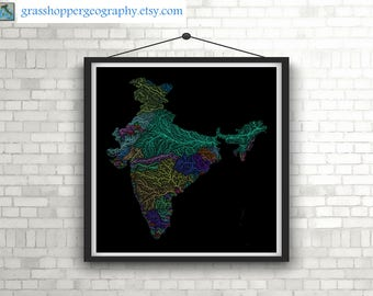 River basins of India in rainbow colours (high resolution digital print) map print, wall art, poster map, home decor, wall decor, printable