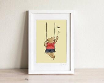 Baby Bear Art, Kids Bear Print, Bear Print for Kids, Teddy Bear Art, Kids Art, Kids Prints, Cute Art for Kids, Cute Childrens Art, Framed