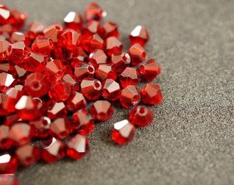 25 BICONES 4 mm Crystal Red bright N27