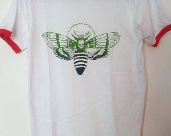 Moth screen printed on red ringer tee