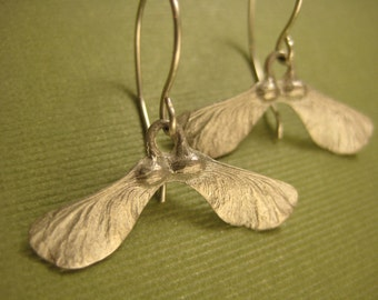 Sterling silver Maple seed helicopter pod earrings