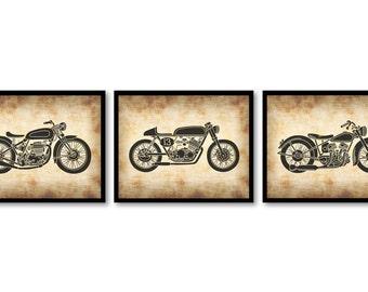 Parchemin de moto Style noir Set de 3 imprimable impression Télécharger INSTANT Wall Art Decor Style Vintage animaux Nature