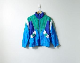 90s Colorblock Windbreaker - 90s Windbreaker Vintage Windbreaker Blue Windbreaker Green Windbreaker - Colorblock Jacket - Women's Petite M