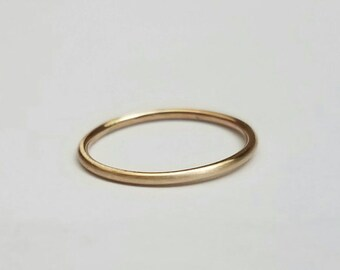 Wedding Band SOLID 14K GOLD Ring Christmas Gift for Her Promise Ring Stacking Ring