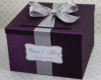 Wedding Card Box Plum Purple and Silver Customizable in your Color