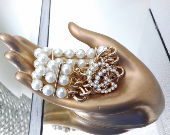 Designer Inspired Faux Pearl & Gold Chain Wedding 3 Strand Stretch  Bracelet, statement bracelet, anniversary gifts, birthday gifts