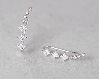 Comet Tail Ear Pin Earrings (sterling silver)