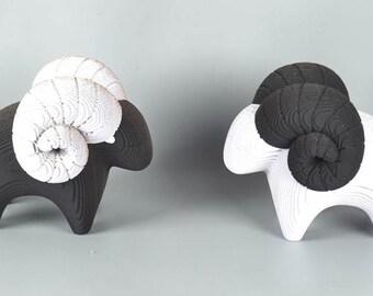 B & W  Horns Cute Sheep  - DIY Cardboard Craft
