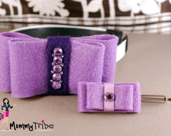 Mommy and Me Matching Hair Piece Set: Purple Felt Ribbon Bows Headband and Elegant Purple Hair Pin