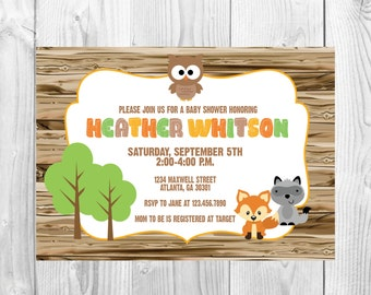 Woodland Baby Shower Invitation >> Forest Animals Shower << Sprinkle Invite >> Fox/Owl/Raccoon >> Rustic << Custom Printable Digital File