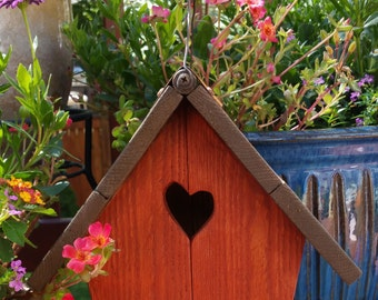 Rustic red outdoor birdhouse for small nesting birds, handmade bird house great gift idea for nature lover or gardener