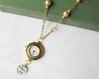 Anne of Green Gables Watch Necklace - Gold Jewelry Jewellery For Women Pink Pearls Crystal - Shirley Gilbert Blythe Vintage Pendant Bookworm