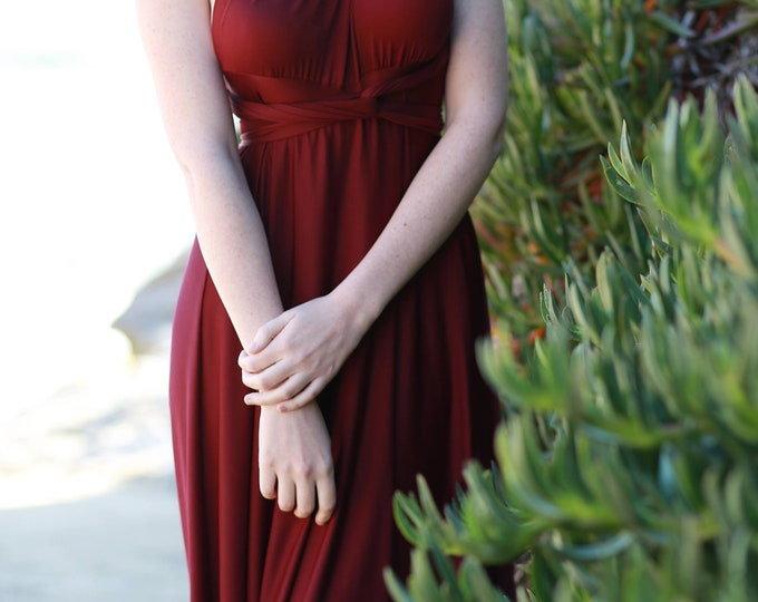 Restless Sea Burgundy- Silky Satin Jersey~ Marsala Octopus Convertible Infinity Wrap Dress ~ Marsala Bridesmaids, Wedding Guest
