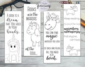 Printable unicorn bookmark set, coloring bookmark, coloring unicorn bookmarks, printable bookmarks, gift for reader, cute unicorn print