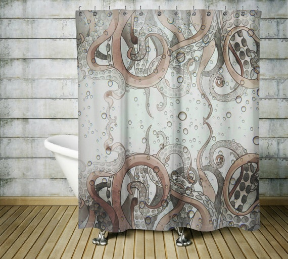 Octopus Tentacle Shower Curtain Gray and Tan