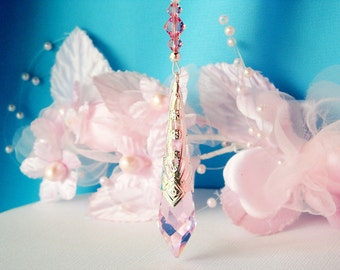 Crystal Rear View Mirror Charm Pink Car Accessories Swarovski Crystal Rearview Mirror Car Charm