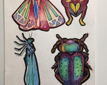 Bugs original watercolor painting.