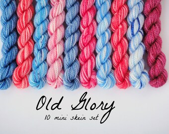 10 Sock Mini Skein Set- 20 yards each- Old Glory
