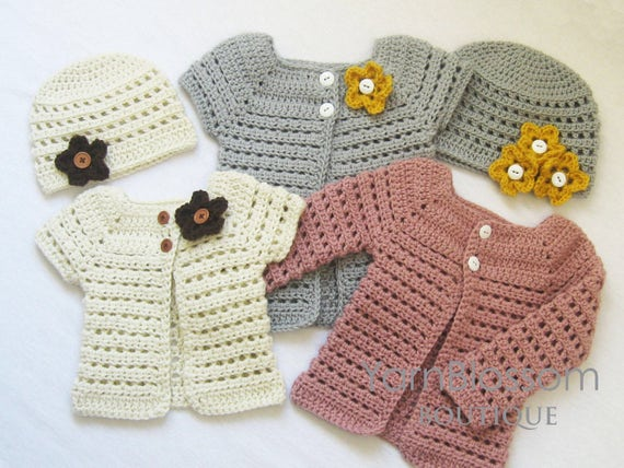 Crochet Pattern Toddler Cardigan Beanie Pdf Download Digital
