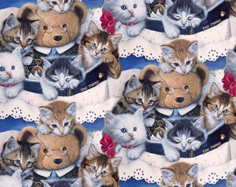 Multi Kitten's & Teddy Bear Digitally Printed David Textiles #7124 By the Yard