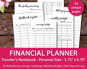 Financial Planner, Finance Printables, Financial Planner Inserts, Personal Size Travelers Notebook Insert Printable, tn inserts