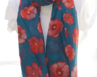 Teal poppy Scarf shawl, Beach Wrap, Cowl Scarf, teal poppy print scarf, cotton scarf, gifts for her