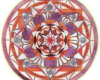 "Mandala Greeting Card, drawn with love, ""Emotional delight"""