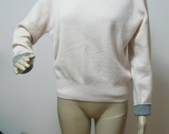 Pure* Cashmere Misses S Light Pink Pullover Sweater with Gray Trim SEE Details