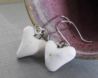 Stoneware Earrings, Silver Earrings, White Hearts, White Earrings, Love Hearts, Ceramic Earrings, Dangle Earrings,