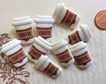 SET of 9 Coffee Latte, Hot Cup of Coffee, Fresh Brewed Espresso Miniature Cafe Latte Mug, Coffee Lover Button/Shank buttons/Hoop buttons