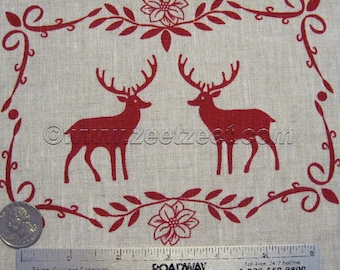 "ALPINE CHALET Deer Ornament Squares NATURAL Flax Red 100% Linen Fabric by the Yard 60"" (1.5 meters) Wide"