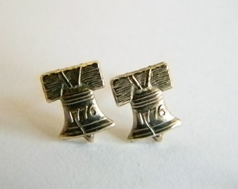 Vintage Gold Tone Liberty Bell Post Pierced Earrings