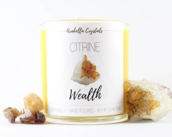 Citrine Crystal Candle / Crystal Candle / Citronella / Soy Candle / Wealth