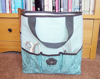 Handmade Knitting Bag, project bag, craft bag, yarn bag, crochet bag, knitting tote, knitting storage, tote bag, blue, teal, aqua