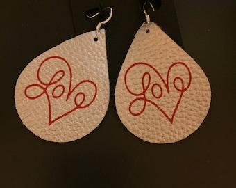 faux leather earrings Valentine love earrings
